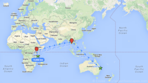 Brisbane - Dar Es Salaam Map