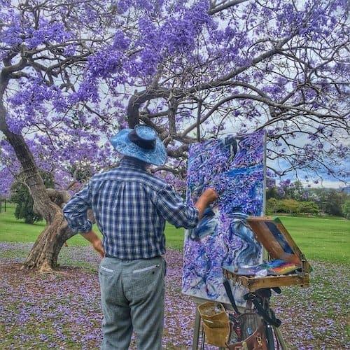 Jacaranda Trees in Brisbane - painter at UQ