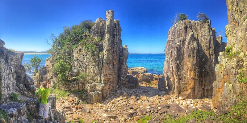Crowdy Bay Pano Beach Rocks