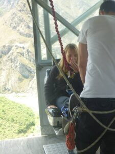 Bungy Jumping New Zealand - Eloise gearing up