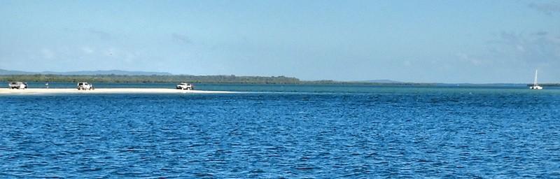Rainbow Beach 4WD vehicles waiting for Fraser Island ferries