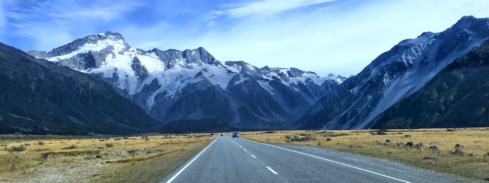 Road going to Mt Cook